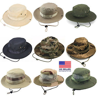 Boonie Bucket Hats Outdoor Fishing Hunting Wide Brim Mesh Camo Safari Sun Cap](Camo Bucket Hats)