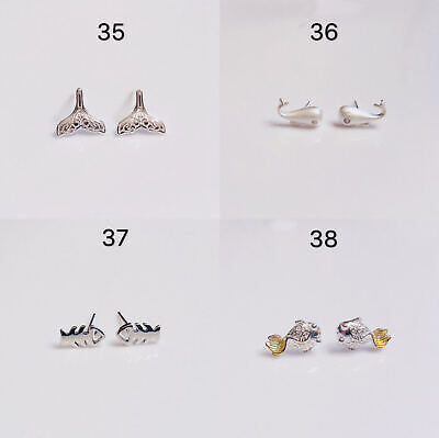 925 Sterling Silver Whale Fish Dainty Stud Earrings Gift Box Free Shipping