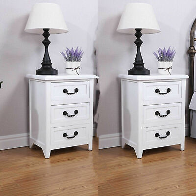 SolidWood Set of 2 Solid Wood Strong Elegant Nightstand Drawer End Table Bedside