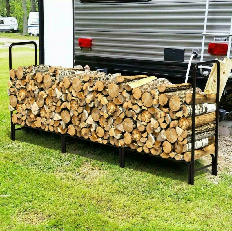 8ft Firewood Wood Log Rack Lumber Storage Holder Backyard Steel Outdoor Protect