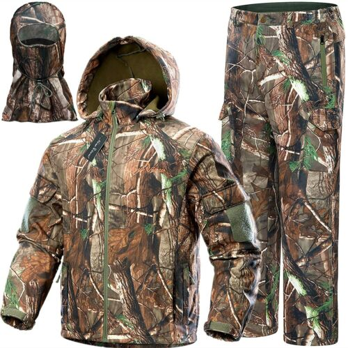 Ghillie Camouflage Hunting Suit Clothes Jacket Pants Hat Mask Waterproof Camo