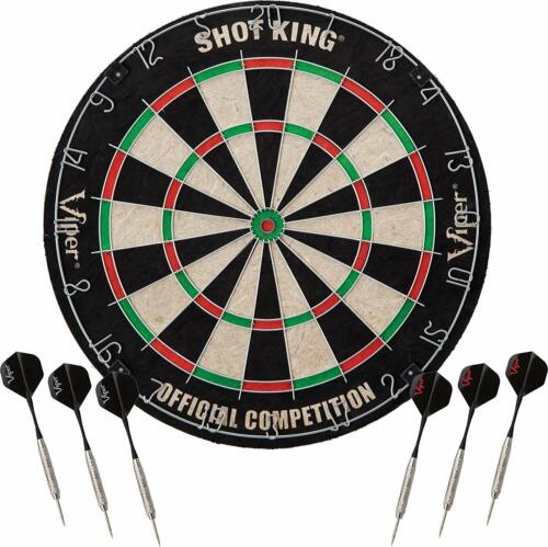 Viper 42-6002 Shot King 18 Inch Bristle Sisal Fiber Dart Board with 6 Darts