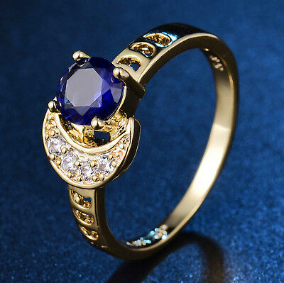 Sun & Moon Blue Crystal Rhinestone Yellow Gold Filled Women Lady Wedding Rings Crystal Rhinestone Bridal Rings