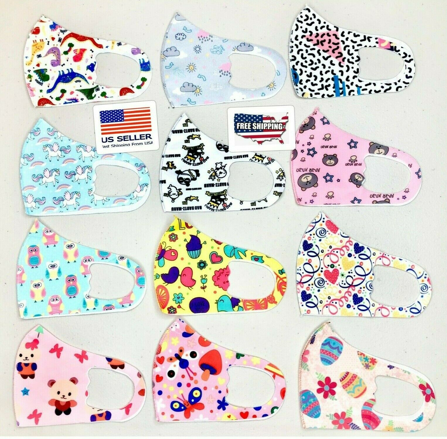 Kids Face Mask, Reusable, Washable, Easy Breath! Cover Mouth & Nose Accessories