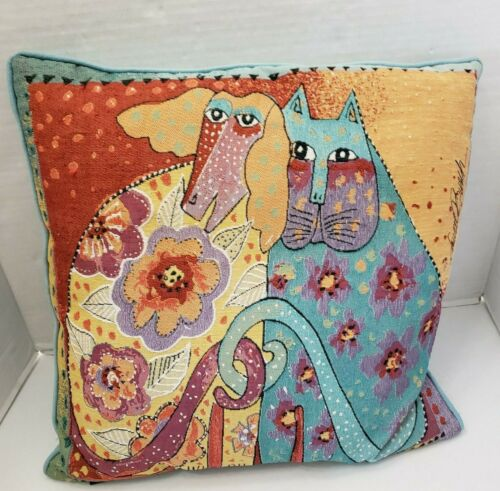 "Laurel Burch Tapestry Cat & Dog Sitting Together Floral Flower Pillow 18"" Square"