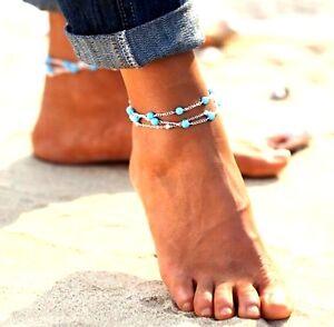 Ankle Bracelet Triple 3 Chain Turquoise Beaded Beach Foot Jewellery Bohemian