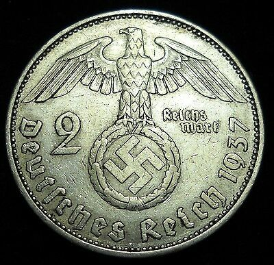 * Nazi Germany 1937A 2 Reichsmarks Silver Coin. Third Reich. Swastika. Mark.