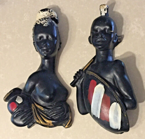 VINTAGE CHALKWARE CERAMIC AFRICAN AMERICAN Woman / Man Faces AS IS