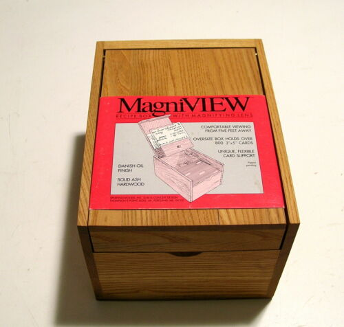 MagniView Recipe Box with Magnifying Lens