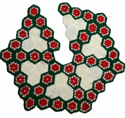 Vintage Christmas tree skirt Crochet granny square handmade red white green
