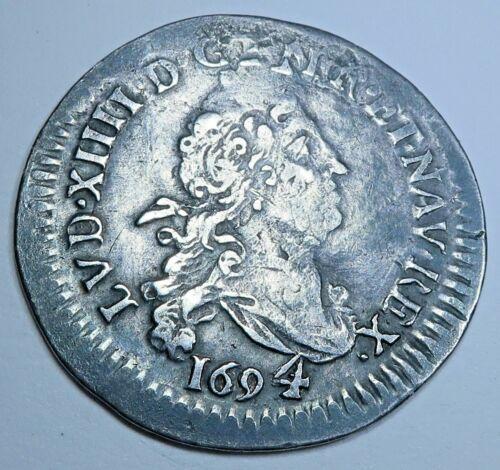 France 1694 Quadruple 4 Sol 2 Denier Antique Silver French 1600