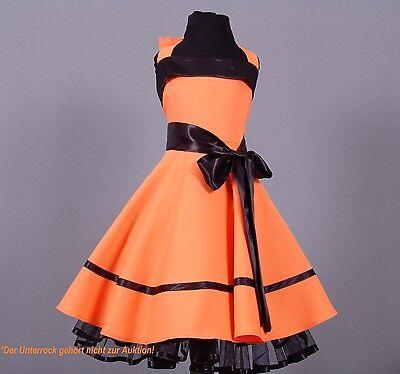 re Stil Mädchen Petticoat Kleid Gr 104-128 Orange/schwarz (Mädchen Kleid Orange)