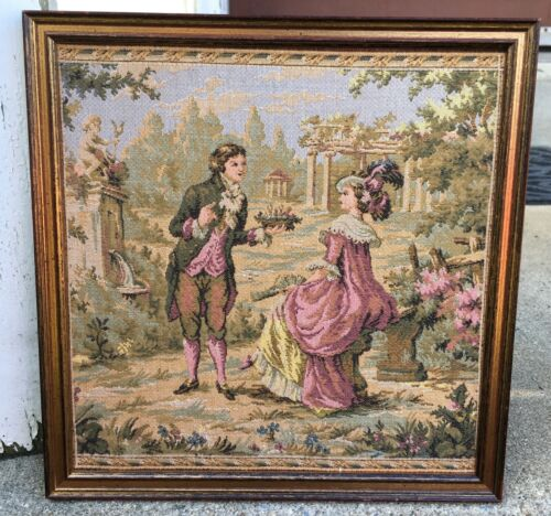 Vintage French Tapestry Man And Lady Framed Needlepoint Victorian Scene