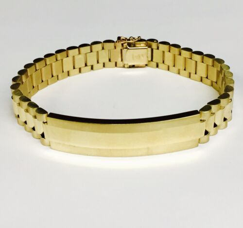 "14kt solid Yellow gold RLX Style Link mens ID bracelet 8.5"" 55 Grams 10.5 MM"