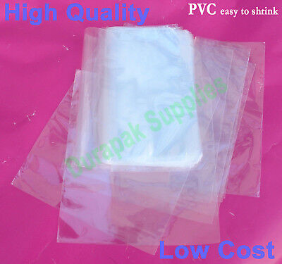 250 12x18 Pvc Heat Shrink Film Wrap Bags 100 W Vent Hole Retail Packaging