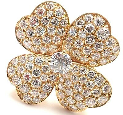 Authentic! Van Cleef & Arpels Cosmos 18k Yellow Gold Diamond Large Model Ring