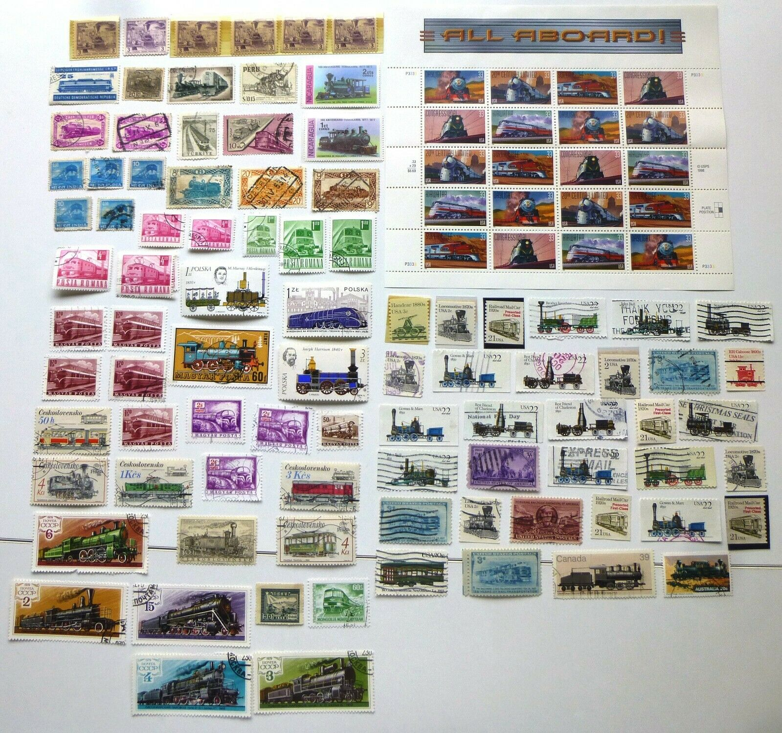 TRAIN STAMPS FROM AROUND THE WORLD MNH USED UNC 110 - $2.99