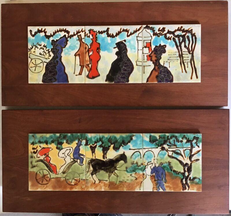 Harris Strong Tile Art Impessionist Park Scene