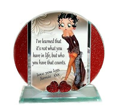 Betty Boop Round Glass - Betty Boop, Mother's Day, Red Hearts Cut Glass Round Plaque | Cellini Plaques #