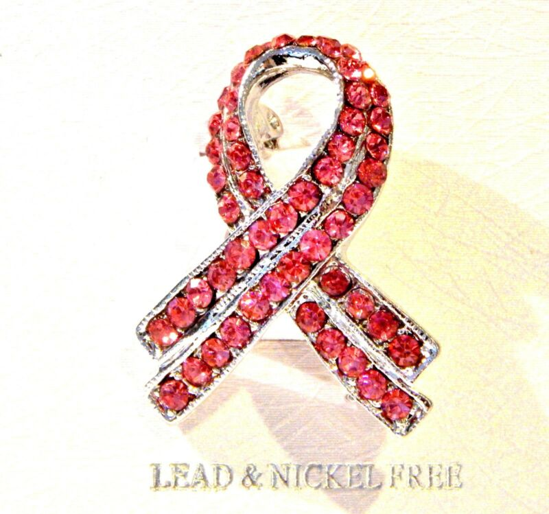 NWT WOMENS BREAST CANCER BROOCH/PIN-SILVER & PINK/FUCHSIA RHINESTONES