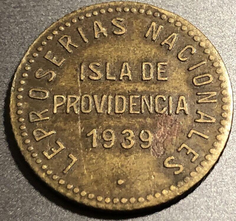 Semi Rare Isla De Providencia 1939 .12 1/2 Bolivar Venezuela Leper Colony Coin