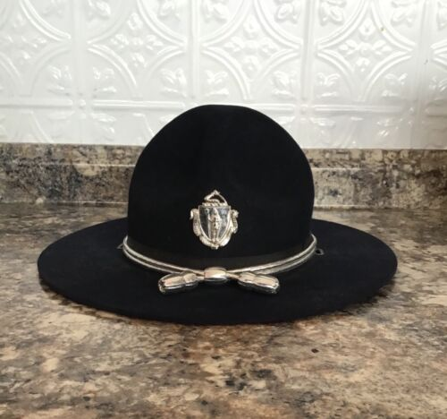 Vintage Obsolete 1950s 60s Mass  State Police Winter Stetson hat