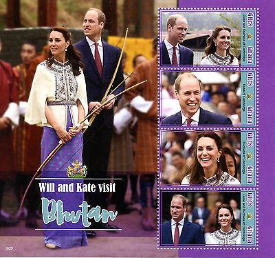 Ghana 2016 MNH Prince William & Kate Visit Bhutan 4v M/S Royalty Stamps
