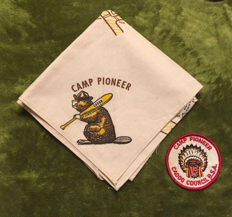 Vintage Caddo Area Camp Pioneer Neckerchief & Patch (Nice)