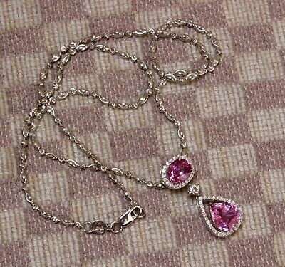 Drop Pink Sapphire Necklace (NEW 18K WHITE GOLD FOUR CARAT PINK SAPPHIRE & DIAMOND (VS/G) DROP NECKLACE)