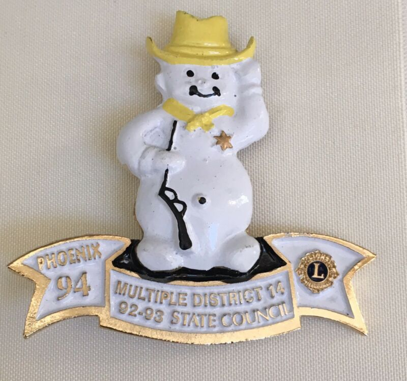 Lions Club Pin Snowman PA Multiple District 14 State Council PhoenIx '94 Vintage