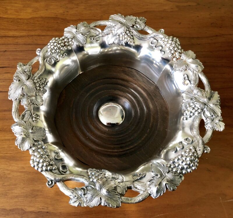 Vintage CPM Silverplate Silver Plate Wood Wine Coaster Moselle Grape Vine Grapes
