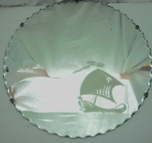 vintage collectable round scalloped sail boat etched mirror