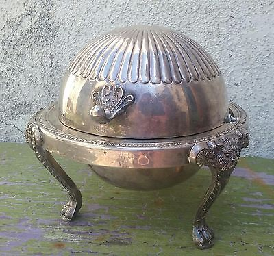 1883 F.B.ROGERS SILVER CO 273 Silver Plated Roll Top Butter Caviar Dish