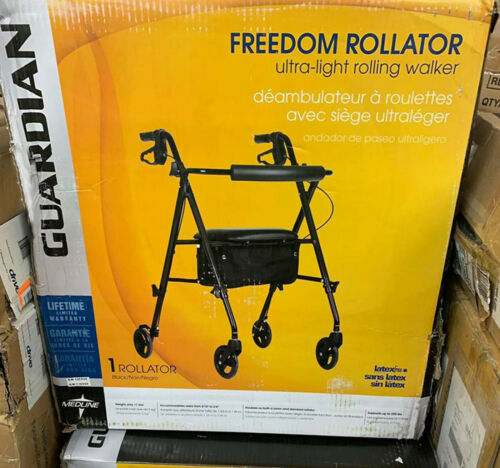Rollator Rolling Walker with Medical Curved Back Soft Seat Light Weight New