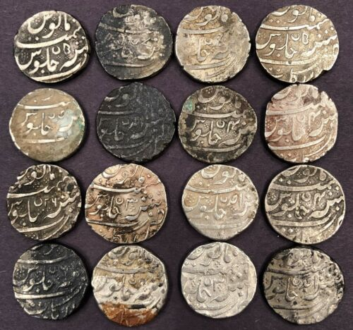 India - French, Arcot, Sixteen Silver Rupees, Various Dates and Dies, 179g