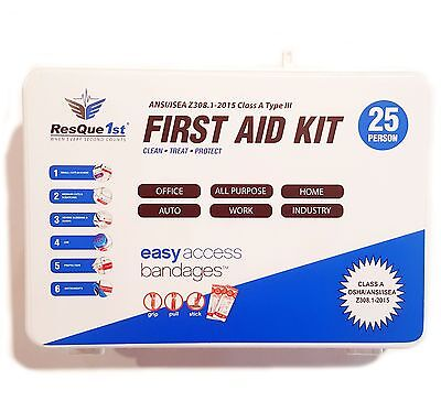 NEW ResQue1st First Aid Kit Class A 25-Person 2015 ANSI Compliant | Office (1 Person First Aid)
