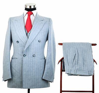 Vtg Bespoke Powder Blue Double Breasted Pinstripe 100% Wool 3 Piece Suit 36/38 R
