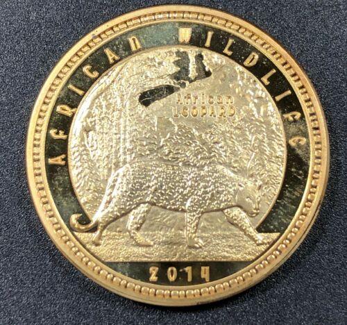 2014 ZAMBIA 1000 KWACHA GOLD PLATED AFRICAN WILDLIFE AFRICAN LEOPARD UNC BU (MR)