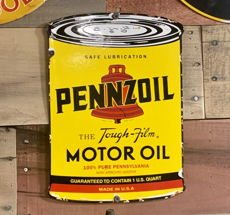 Vintage Style Pennzoil Motor Oil Can Porcelain Pump Plate
