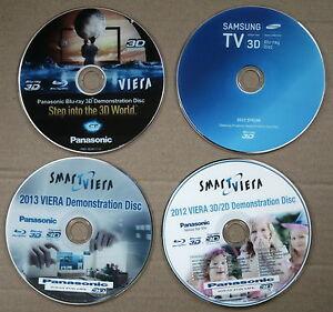 4. X 3D REALY GREAT*3D*1*SAMSUNG*3X*PANASONIC*3D/2D DEMO DISCS.FREE P&P.,
