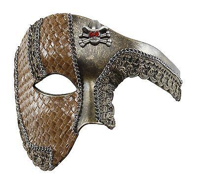 Cowboy Steam Punk Halloween Mask with Leather Finish Phantom Opera Style Unisex