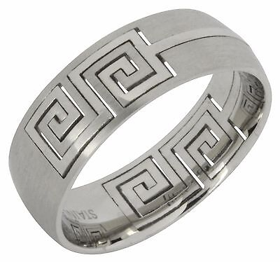 Greek Key Brushed Polished Stainless Steel Band Ring Comfort Fit 8mm