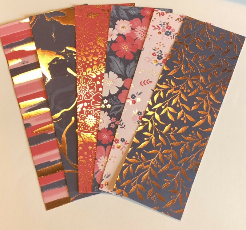 6 Wild Rose Gold Foil Specialty  Flowers Bookmarks Heavy Cardstock HC SC 💕Books