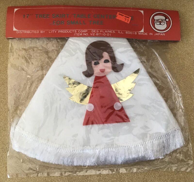 Vintage 60s Felt Christmas Tree Skirt Table Center Piece w/ Angel NOS