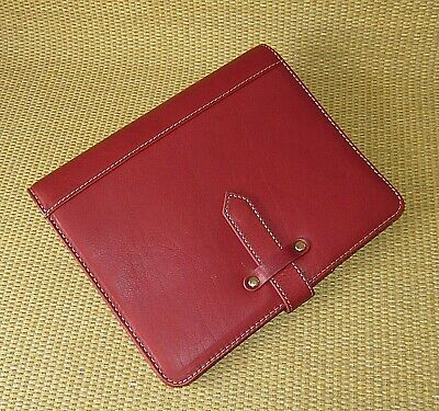 Classic Franklin Covey New Red Leather 1.5 Gold Rings Plannerbinder