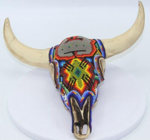 Huichol Beaded Resin Bull Skull