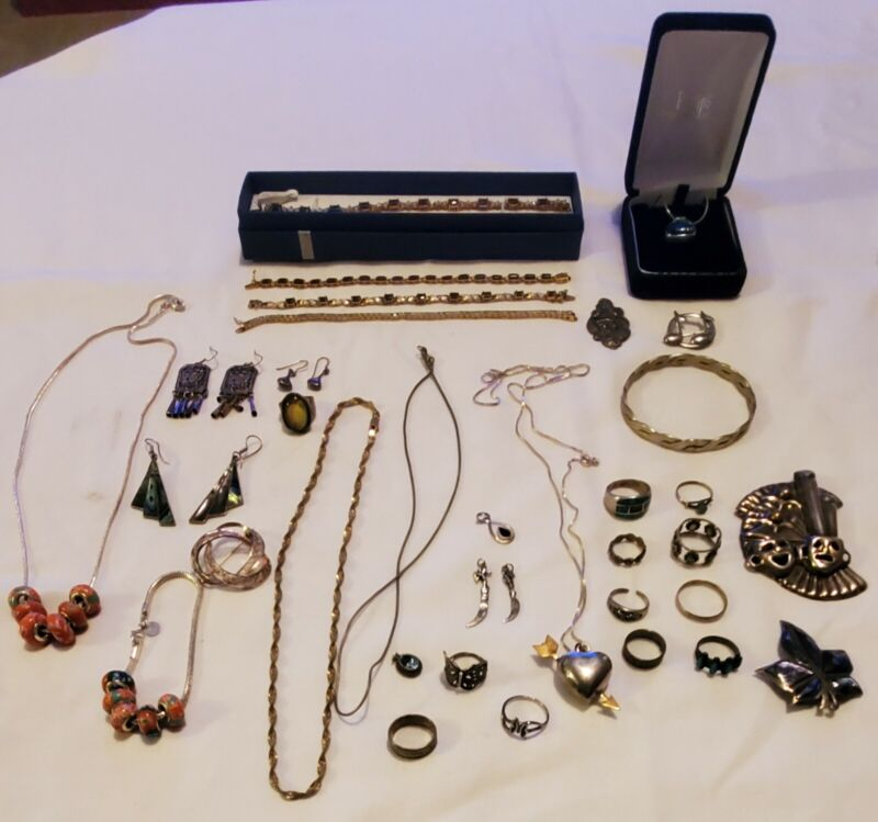 Jewelry Lot Sterling Silver Rings Bracelets Necklaces Etc. ~
