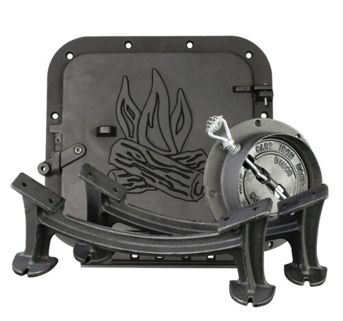 U S Stove Co BSK1000 Cast Iron Barrel Wood Stove Kit for 30-55 Gallon Drums