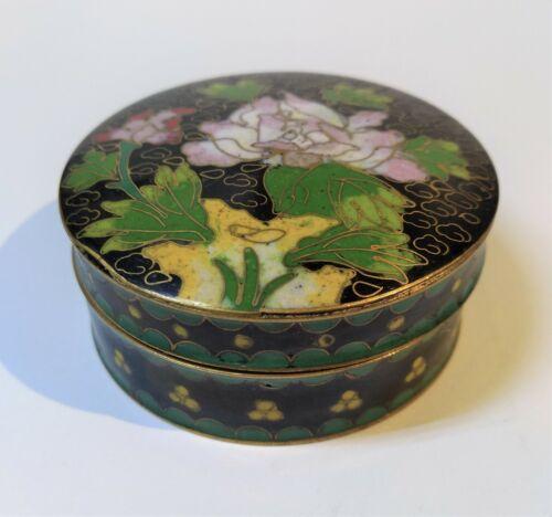 "Vintage CLOISONNE ENAMEL BOX FLOWERS on BLACK Ground Brass Chinese Trinket 2.5"""