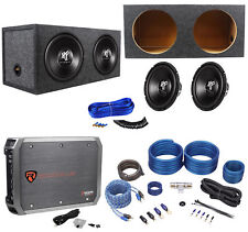 "2) Hifonics HFX12D4 12"" 1600w Car Subwoofers+Sealed Sub Box+Mono Amplifier+Wires"
